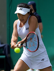 LONDON, ENGLAND - Monday, July 1, 2019: Lin Zhu (CHN) during the Ladies' Singles first round match on Day One of The Championships Wimbledon 2019 at the All England Lawn Tennis and Croquet Club. (Pic by Kirsten Holst/Propaganda)