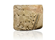 Landscape picture of Alaca Hoyuk Sphinx Gate Hittite monumental relief sculpted orthostat stone panel. Andesite, Alaca, Corum, 1399 - 1301 B.C. Jugglers and acrobats.  Anatolian Civilizations Museum, Ankara, Turkey<br /> <br /> The juggler facing towards left, with long hair and a short dress, swallows a dagger; the smaller acrobats behind go up the stairs without holding on. All the figures have horned headdresses and earrings with a huge ring on their ears. It is thought that the acrobats are of different nationality, which is the reason why they are depicted smaller.  <br /> <br /> Against a white background. .<br />  <br /> If you prefer to buy from our ALAMY STOCK LIBRARY page at https://www.alamy.com/portfolio/paul-williams-funkystock/hittite-art-antiquities.html . Type - Aalca Hoyuk - in LOWER SEARCH WITHIN GALLERY box. Refine search by adding background colour, place, museum etc.<br /> <br /> Visit our HITTITE PHOTO COLLECTIONS for more photos to download or buy as wall art prints https://funkystock.photoshelter.com/gallery-collection/The-Hittites-Art-Artefacts-Antiquities-Historic-Sites-Pictures-Images-of/C0000NUBSMhSc3Oo