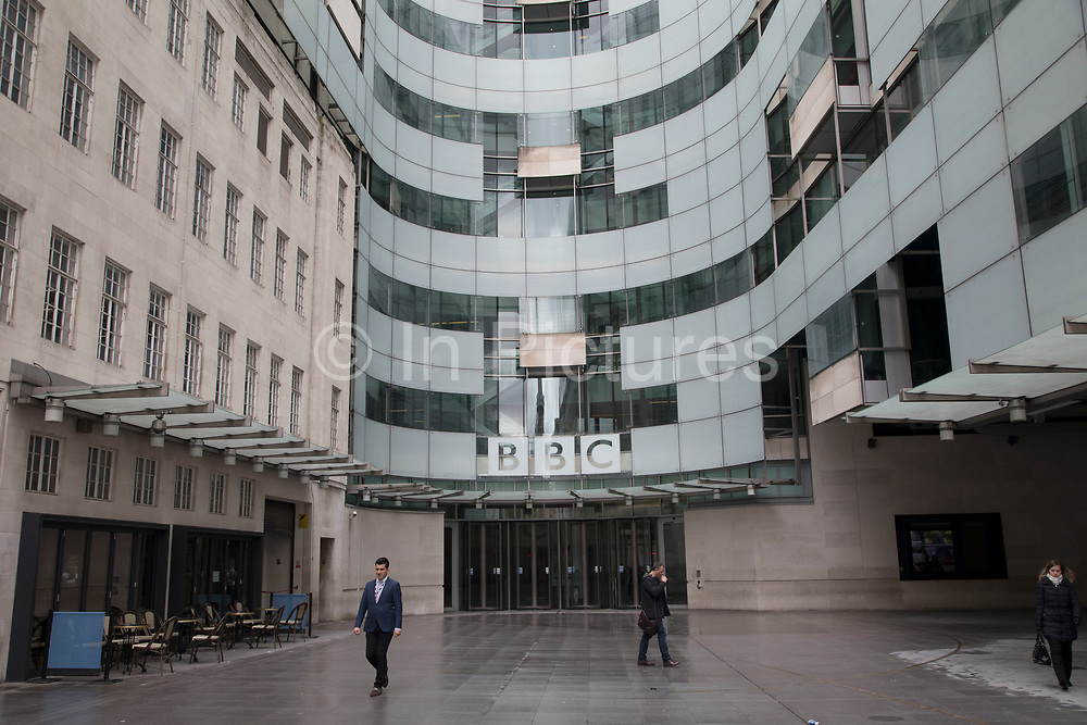 BBC headquarters, BBC Broadcasting House, Portland Place, London, England, United Kingdom. The main building was refurbished, withradio stations BBC Radio 3, BBC Radio 4, and the BBC World Service transferred to refurbished studios within the building. The extension links the old building and includes a new combined newsroom for BBC News, with studios for the BBC News channel, BBC World News and other news programming. The move of news operations from BBC Television Centre was completed in March 2013.