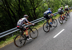 Tadej Pogacar (SLO) of UAE Team Emirates, Aleksandr Vlasov (RUS) of Gazprom - Rusvelo, Giovanni Visconti (ITA) of Neri Sottoli Selle Italia KTM and Diego Ulissi (ITA) of UAE Team Emirates during 4th Stage of 26th Tour of Slovenia 2019 cycling race between Nova Gorica and Ajdovscina (153,9 km), on June 22, 2019 in Slovenia. Photo by Vid Ponikvar / Sportida