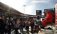 Ohio State head coach Jim Tressel addresses the media at Sun Devil Stadium during media day Friday in Tempe, AZ.