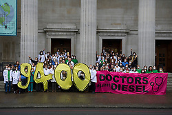 December 10, 2016 - London, London, United Kingdom - Image ©Licensed to i-Images Picture Agency. 10/12/2016. London, United Kingdom. Doctors Against Diesel campaign launch. Campaigners from Doctors Against Diesel gather alongside Euston Road, London, calling for Sadiq Khan, Mayor of London, to commit to phase out diesel vehicles from London, and for the public to respond to a TFL public consultation in support of the phasing out of diesel in London. Doctors Against Diesel is an emerging group of medical professionals who are drawing attention to the link between the use of diesel fuels, air pollution and a public health emergency. Picture by David Mirzoeff / i-Images (Credit Image: © David Mirzoeff/i-Images via ZUMA Wire)