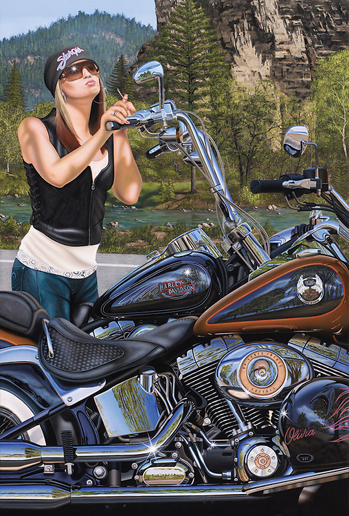 """""""In Your Dreams""""<br /> Painting by Scott Jacobs 2008<br /> <br /> Olivia, Scotts oldest daughter, modeled for this 2008 Sturgis cover piece. Olivia was photographed in San Diego and then Scott took 712 hours to paint her into Spearfish Canyon."""