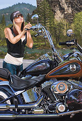 """In Your Dreams""<br /> Painting by Scott Jacobs 2008<br /> <br /> Olivia, Scotts oldest daughter, modeled for this 2008 Sturgis cover piece. Olivia was photographed in San Diego and then Scott took 712 hours to paint her into Spearfish Canyon."