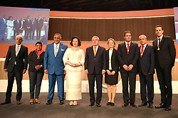 LIMA, Sept. 16, 2017  International Olympic Committee (IOC) President Thomas Bach (C) poses with eight new IOC members during the 131st IOC session in Lima, Peru, on Sept. 15, 2017. The 131st IOC session concluded on Friday. (Credit Image: © Li Ming/Xinhua via ZUMA Wire)