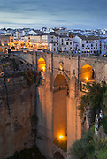 Puente Nuevo bridge at sunset in Ronda, Spain
