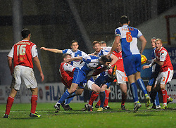 Bristol Rovers' John-Joe OToole gets a boot to the face after going for a header - Photo mandatory by-line: Dougie Allward/JMP - Tel: Mobile: 07966 386802 14/12/2013 - SPORT - Football - Morecombe - Globe Arena - Morecombe v Bristol Rovers - Sky Bet League Two