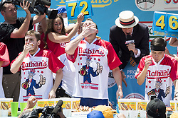 July 4, 2017 - Brooklyn, NY, U.S - JOEY CHESTNUT won the Nathan's Famous International Hot Dog Eating Contest men's division by eating 72 hot dogs and buns in ten minutes, in Coney Island in Brooklyn, New York on July 4, 2017. (Credit Image: © Michael Brochstein via ZUMA Wire)