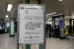 © Licensed to London News Pictures. 19/03/2020. London, UK. A station closed sign at Mile End tube station regarding Bow Road tube station in London which closed this morning. Transport for London (TfL) are closing a number of underground stations from today, as partial closure of the tube and rail network begins in response to the growing coronavirus outbreak in the captial. Photo credit: Vickie Flores/LNP