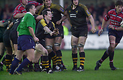 Gloucester, Gloucestershire, UK., 04.01.2003, Wasps's Rob HOWLEY, gets his pass away, during, Zurich Premiership Rugby match, Gloucester vs London Wasps,  Kingsholm Stadium,  [Mandatory Credit: Peter Spurrier/Intersport Images],