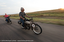 Doug Feinsod of California riding his 1913 Thor in Dodge City during the Motorcycle Cannonball Race of the Century. Stage-8 from Wichita, KS to Dodge City, KS. USA. Saturday September 17, 2016. Photography ©2016 Michael Lichter.