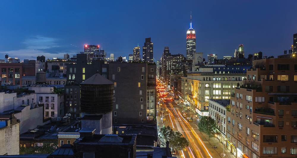 View of the Empire state Building from rooftops in Chelsea, Manhattan