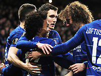Football - 2018 / 2019 UEFA Europa League - Round of Sixteen, First Leg: Chelsea vs. Dynamo Kiev<br /> <br /> Willian of Chelsea celebrates scoring goal no 2 from a free kick,  with Christiensen and Luiz at Stamford Bridge.<br /> <br /> COLORSPORT/ANDREW COWIE