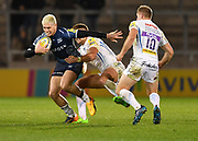 Sale Sharks stand-off James O'Connor breaks through Exeter Chiefs centre Henry Slade during the The Aviva Premiership match Sale Sharks -V- Exeter Chiefs  at The AJ Bell Stadium, Salford, Greater Manchester, England on Friday, October 27, 2017. (Steve Flynn/Image of Sport)