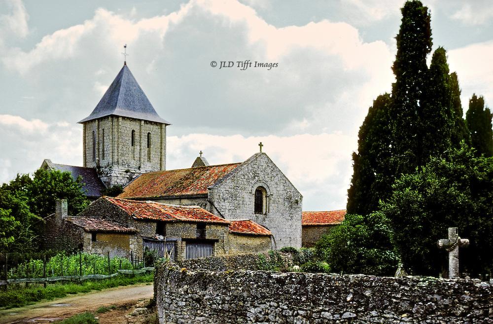French village church and cemetery near Moncontour, Poitou region.