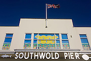 Southwold pier sign at the Suffolk seaside town.