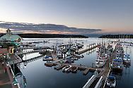The boardwalk, boat docks and Nanaimo Water Harbour Airport in Nanaimo, British Columbia, Canada