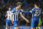 Brighton striker (on loan from Manchester United), James Wilson (21) celebrates scoring the winning goal with Brighton striker, Anthony Knockaert (27) during the Sky Bet Championship match between Brighton and Hove Albion and Huddersfield Town at the American Express Community Stadium, Brighton and Hove, England on 23 January 2016.