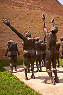 """Sculpture group """"Parade of the Sacrificied"""" by Aurel Vlad,  at the Gulag Sighet prison which housed high ranking political & religious prisoners held by the Romanian communist regime. Now the  Sighet Memorial Museum in memory of the victims of communism.  Sighetu Marmaţiei, Maramureş .<br /> <br /> Visit our ROMANIA HISTORIC PLACXES PHOTO COLLECTIONS for more photos to download or buy as wall art prints https://funkystock.photoshelter.com/gallery-collection/Pictures-Images-of-Romania-Photos-of-Romanian-Historic-Landmark-Sites/C00001TITiQwAdS8"""