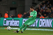 Kristoffer Nordfeldt, the Swansea city goalkeeper in action.EFL Carabao Cup 4th round match, Swansea city v Manchester Utd at the Liberty Stadium in Swansea, South Wales on Tuesday 24th October 2017.<br /> pic by  Andrew Orchard, Andrew Orchard sports photography.