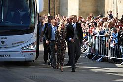 Mollie King (centre) arriving at York Minster for the wedding of singer Ellie Goulding to Caspar Jopling.