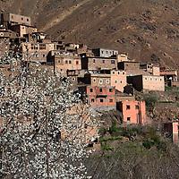 Africa, Morocco, Imlil. Berber village of Imlil in the Atlas Mountains.