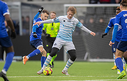 Carl Lange (FC Helsingør) og Théo Chendri (Fremad Amager) under træningskampen mellem FC Helsingør og Fremad Amager den 18. januar 2020 på Helsingør Ny Stadion (Foto: Claus Birch)