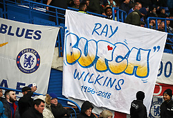 Tributes in memory of the late Ray Wilkins in the stands before the game