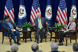 May 5, 2017 - Washington, DC, United States of America - U.S. Secretary of State Rex Tillerson, center, joins in a discussion during the Foreign Affairs Day celebration at the State Department May 5, 2017 in Washington, D.C. (Credit Image: © Glen Johnson/Planet Pix via ZUMA Wire)