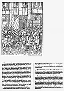The Prince of Antwerp William I (William the silent) arrived in Brussels 1577. here to greet the festival hall.  Wine and sugar are offered to him.  The whole city was in great excitement