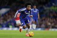 Willian of Chelsea in action. Barclays Premier league match, Chelsea v Manchester Utd at Stamford Bridge in London on Sunday 7th February 2016.<br /> pic by John Patrick Fletcher, Andrew Orchard sports photography.
