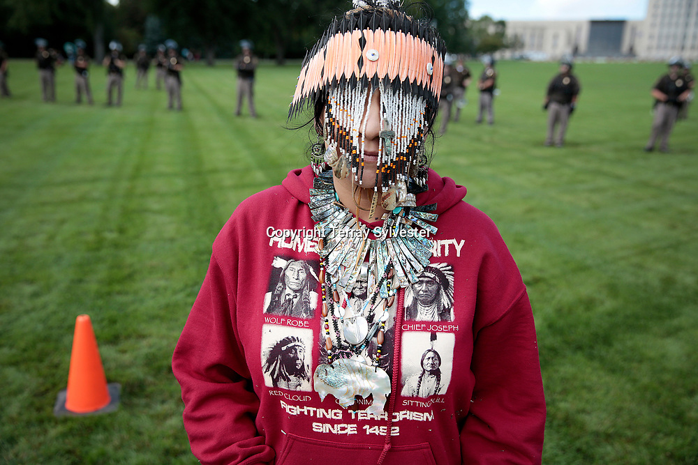 Yolanda Ocampo of the Manchester Band of Pomo Indians in California poses for a photo during a rally against the Dakota Access oil pipeline on the North Dakota state capitol grounds on September 9, 2016. Bismarck, North Dakota, United States.