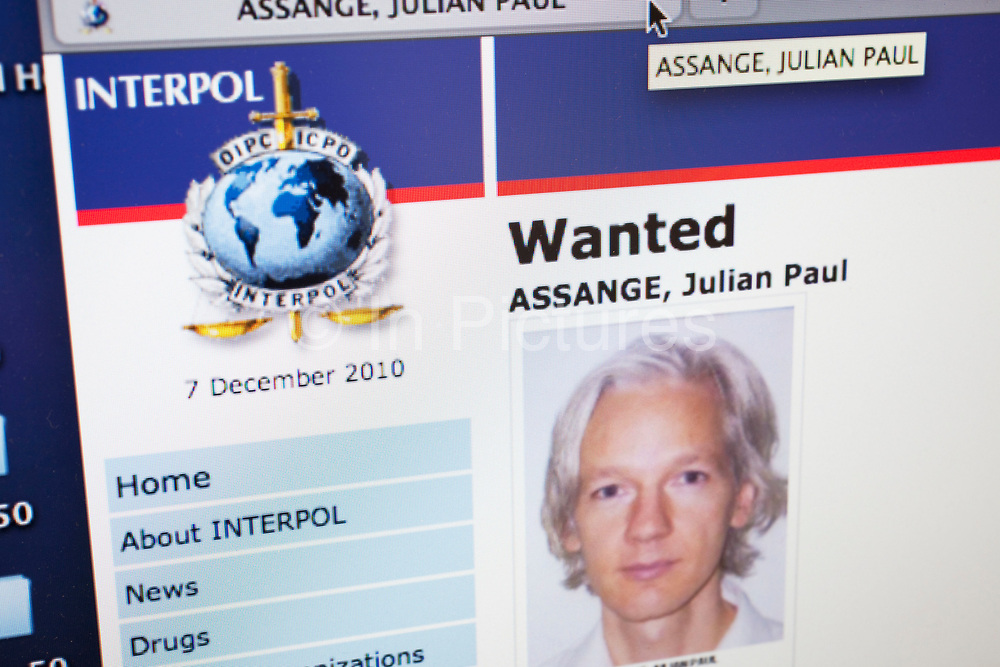 Website for Interpol shows Julian Assange's status as Wanted. The founder of the whistle-blowing website Wikileaks, Julian Assange, has been arrested by police in London. The 39-year-old Australian, who was the subject of a European arrest warrant, denies allegations he sexually assaulted two women in Sweden. A Wikileaks spokesman said Mr Assange's arrest was an attack on media freedom but it would not stop the release of more secret files.