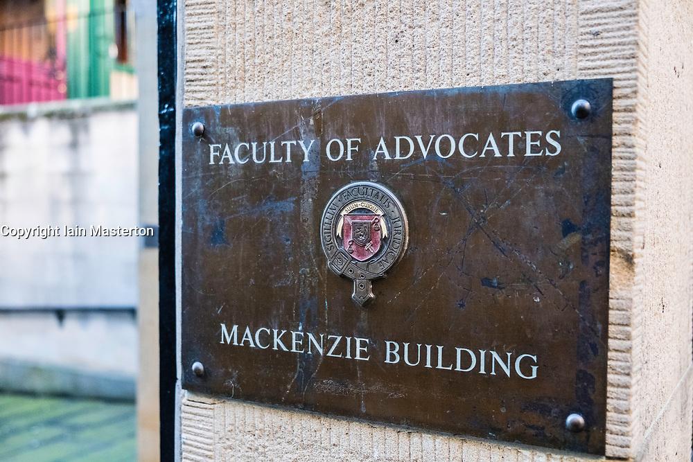 Faculty of Advocates Mackenzie Building in Edinburgh, Scotland, United Kingdom