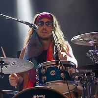 Drummer Joost van Dijck perfors with his Dutch-New Zealand band My Baby at their concert on the A38 Stage at Sziget Festival held in Budapest, Hungary on Aug. 13, 2018. ATTILA VOLGYI