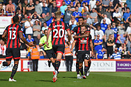 AFC Bournemouth Players Celebrate after AFC Bournemouth Midfielder, Ryan Fraser (24) scores a goal to make it 2-0 during the Premier League match between Bournemouth and Leicester City at the Vitality Stadium, Bournemouth, England on 15 September 2018.