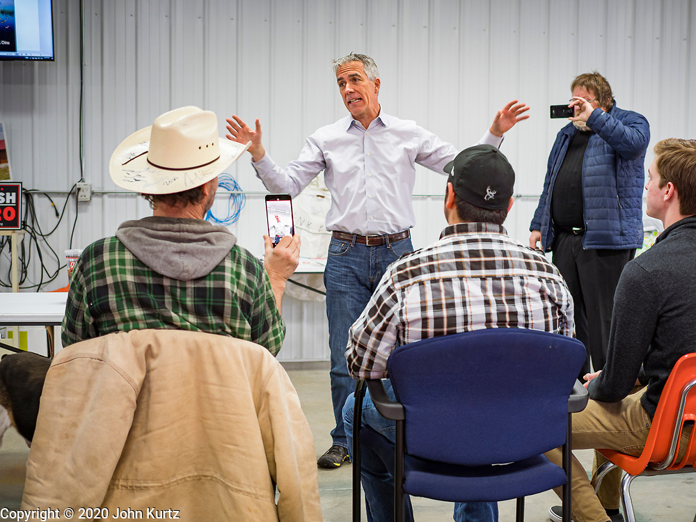 """24 JANUARY 2020 - POLK CITY, IOWA: JOE WALSH, talks about climate change and Donald Trump's presidency during a Walsh campaign event in Polk City, northwest of Des Moines. Walsh, a conservative radio personality, former Republican congressman, and one time supporter of Donald Trump is now challenging Trump for the Republican nomination for the US Presidency. During his appearance in Polk City, Walsh said Trump is unfit to be the President because he is a """"cheater,"""" a climate change denier, and a """"threat"""" to the United States.     PHOTO BY JACK KURTZ"""