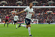 Harry Kane of Tottenham Hotspur celebrates completing his hat-trick after scoring his team's fifth goal (his 3rd). Premier league match, Tottenham Hotspur v Southampton at Wembley Stadium in London on Boxing Day Tuesday 26th December 2017.<br /> pic by Steffan Bowen, Andrew Orchard sports photography.