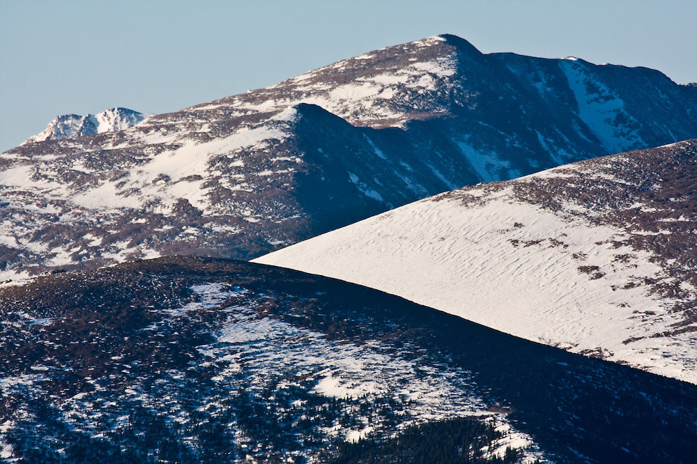 Detail of snow capped peaks in Rocky Mountain National Park, Colorado.