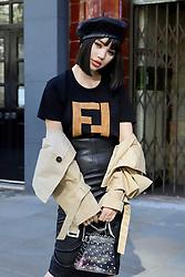 Jolie Nguyen arrives at the Supriya Lele London Fashion Week SS19 show held at BFC Show Space, London.