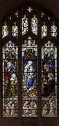 Stained glass window of Adoration of Kings c 1904 J. Hardman, Aldeburgh church, Suffolk, England, UK