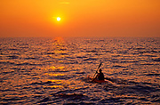 Kayaking on Lake Ontario at sunset<br />