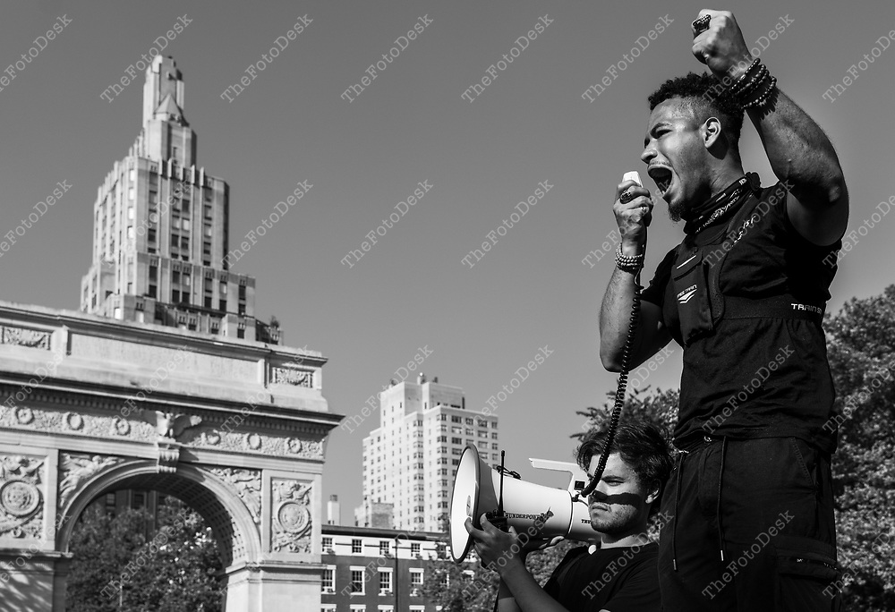 Vidal Guzman speaks during a rally for Black Lives Matter at Washington Square Park in New York, New York. . The demonstrators marched to New York City Hall where the met up with another group called New York Voices. Brian Branch-Price/TheFotodesk)