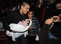 20091210: LISBON, PORTUGAL - SL Benfica Christmas Party at Victor Hugo Cardinali Circus. In picture: Maxi Pereira with his newborn child. PHOTO: Alvaro Isidoro/CITYFILES