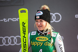 Katharina Truppe (AUT) celebrating at the Ladies' Slalom at 56th Golden Fox event at Audi FIS Ski World Cup 2019/20, on February 16, 2020 in Podkoren, Kranjska Gora, Slovenia. Photo by Matic Ritonja / Sportida