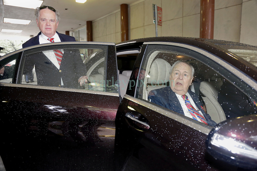 12 June  2015. New Orleans, Louisiana. <br /> Tom Benson (front seat) and his trust attorney Paul Cordes. Tom Benson, billionaire owner of the NFL New Orleans Saints, the NBA New Orleans Pelicans, various auto dealerships, banks, property assets and a slew of business interests leaves the New Orleans Civil District Court after attending a hearing to determine Benson's level of competency to manage his business empire. Benson changed his succession plans and  decided to leave the bulk of his estate to third wife Gayle, sparking a controversial fight over control of the Benson business empire.<br /> Photo©; Charlie Varley/varleypix.com