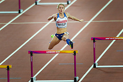 London, August 08 2017 . Meghan Beesley, Great Britain, in the women's 400m hurdles semi-final on day five of the IAAF London 2017 world Championships at the London Stadium. © Paul Davey.