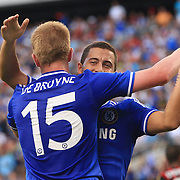 Kevin De Bruyne, Chelsea, is congratulated by Eden Hazard after scoring his sides first goal during the Chelsea V AC Milan Guinness International Champions Cup tie at MetLife Stadium, East Rutherford, New Jersey, USA.  4th August 2013. Photo Tim Clayton