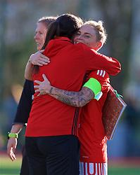 YSTRAD MYNACH, WALES - Wednesday, April 5, 2017: Wales' Jessica Fishlock hugs team mate Helen Ward after the 3-1 win in the Women's International Friendly match against Northern Ireland at Ystrad Mynach. (Pic by Laura Malkin/Propaganda)