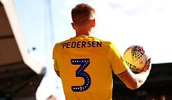 Close up of the Mind Charity branding on Birmingham City's Kristian Pedersen shirt